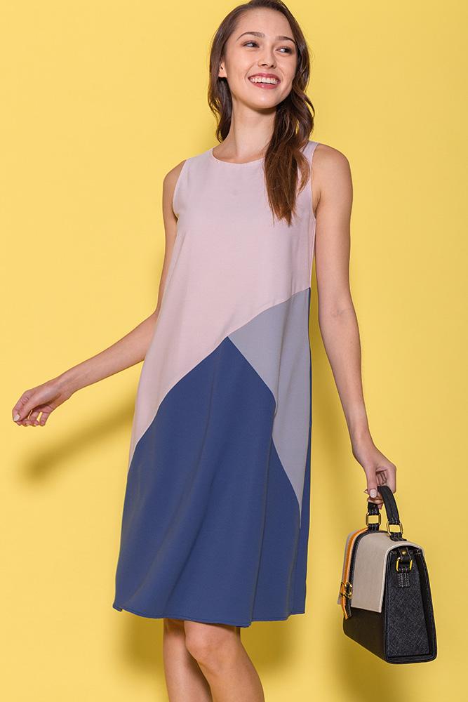 Calla Colour Block Dress (Pink)