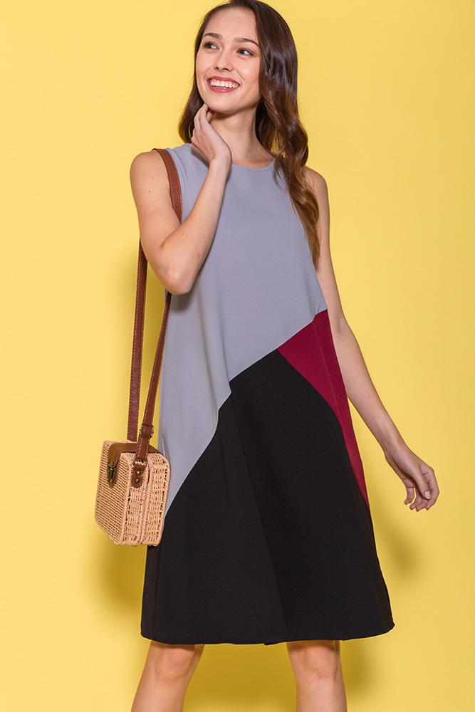 Calla Colour Block Dress (Grey)