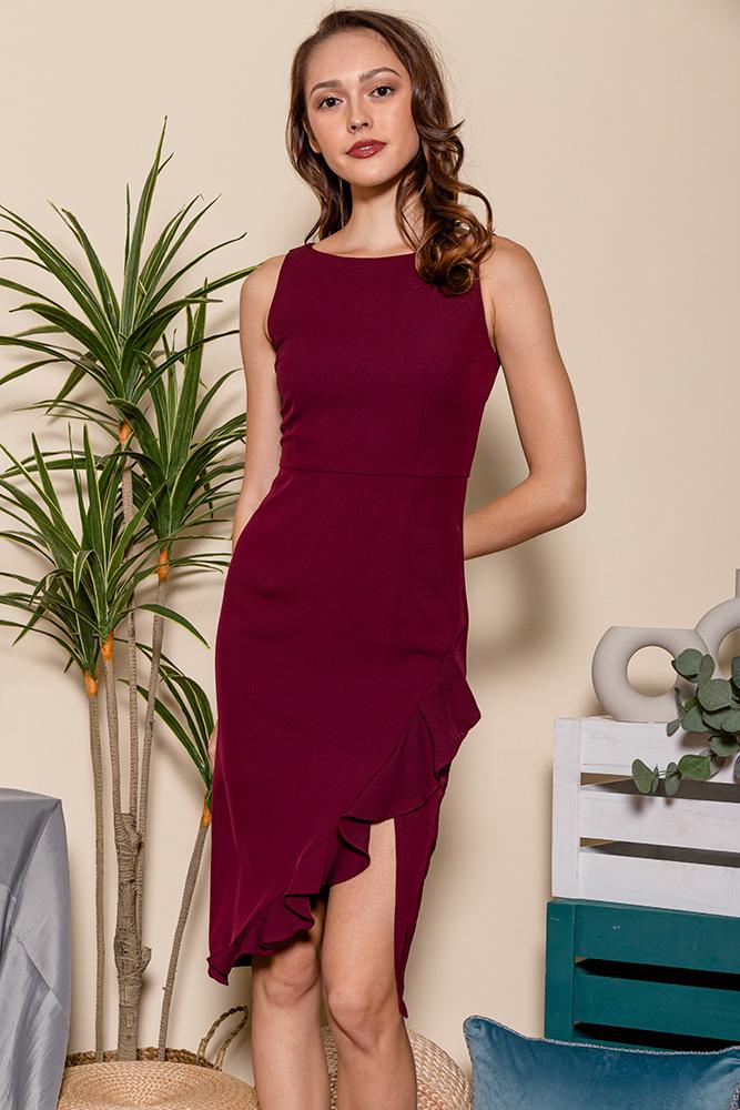 Helena Asymmetrical Ruffle Hem Dress (Wine)