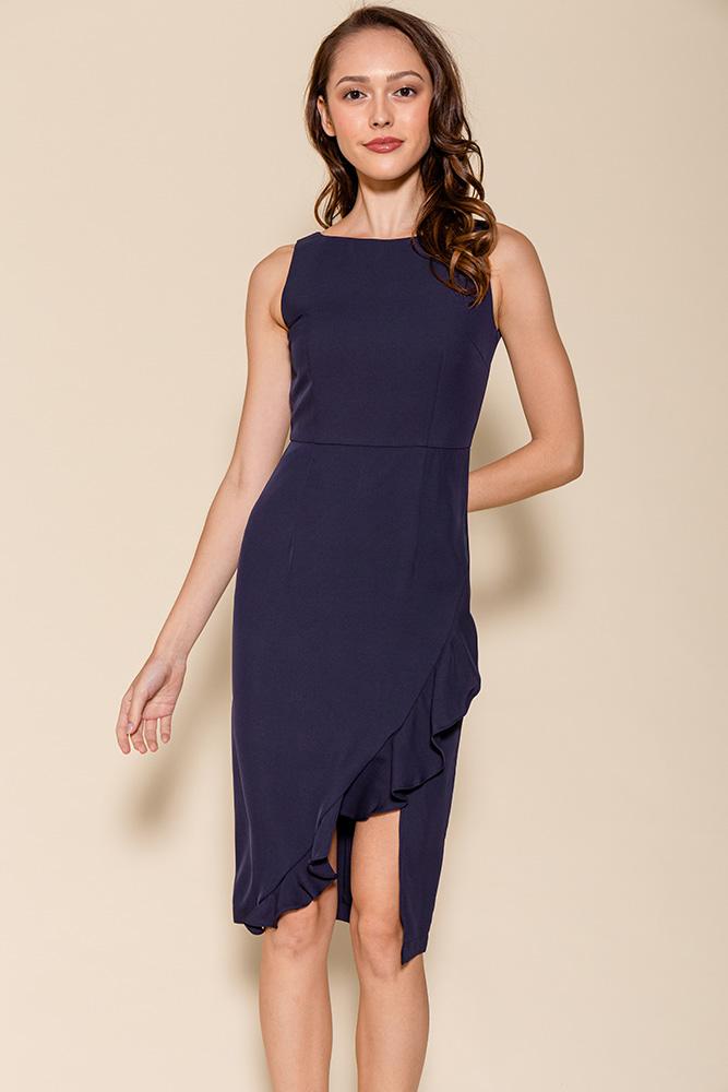 Helena Asymmetrical Ruffle Hem Dress (Navy)