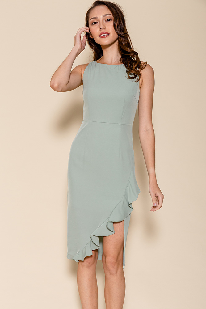 Helena Asymmetrical Ruffle Hem Dress (Sage)