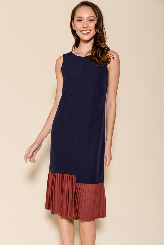 Hera Pleated Hem Midi Dress (Navy/Rust)