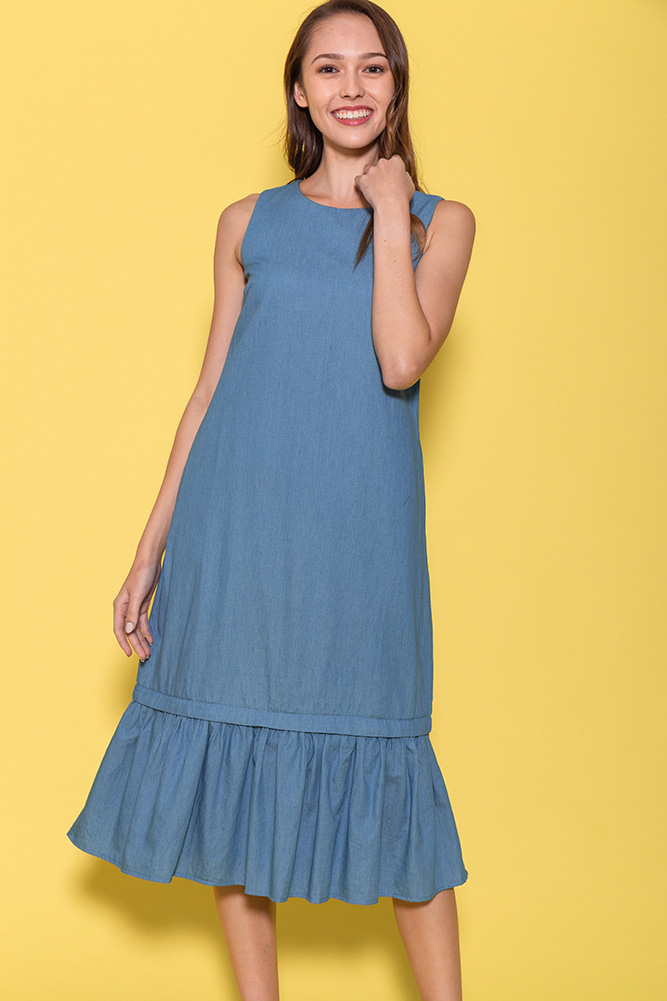 Chantal Chambray Dress W Removable Hem (Blue)