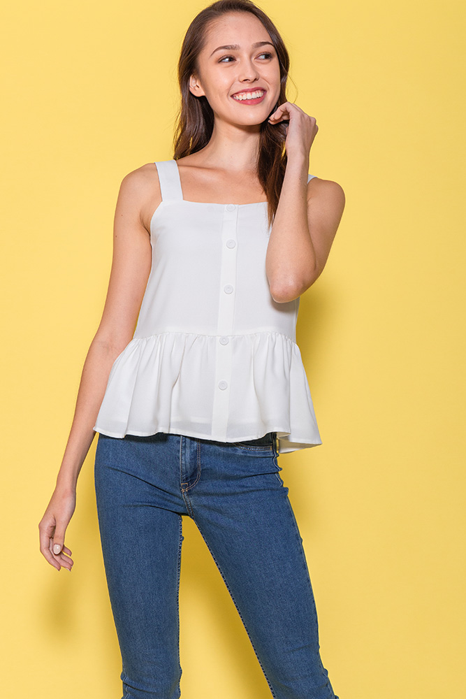 Mulberry Spag Peplum Top (White)