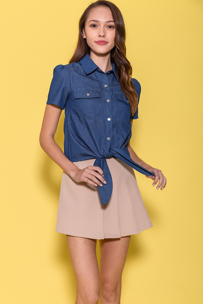 Blake Front Tie Shirt (Blue Chambray)