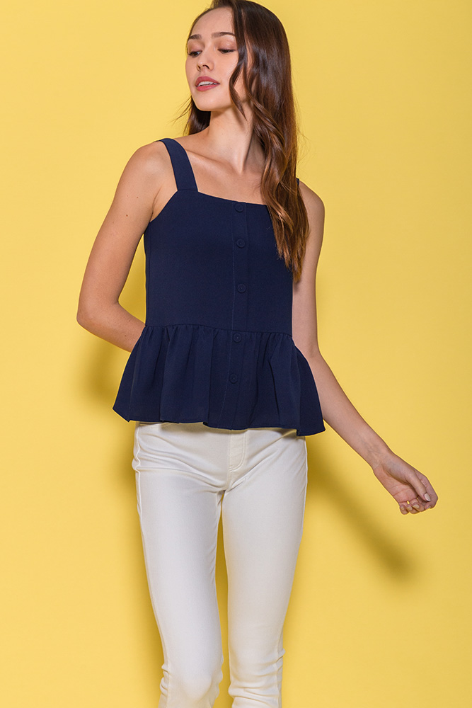 Mulberry Spag Peplum Top (Navy)