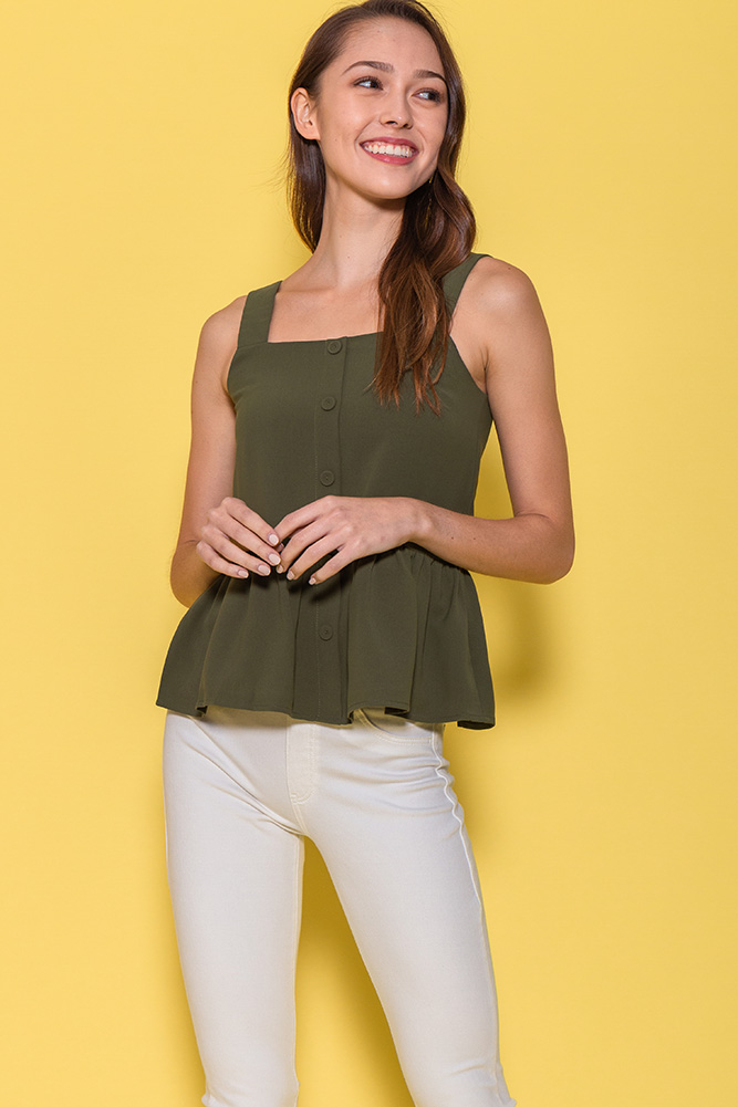 Mulberry Spag Peplum Top (Olive)
