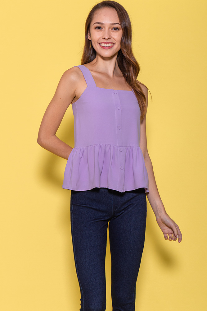 Mulberry Spag Peplum Top (Lilac)