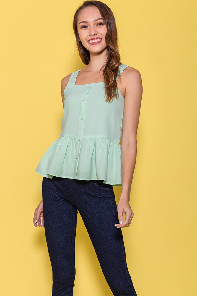 Mulberry Spag Peplum Top (Mint)