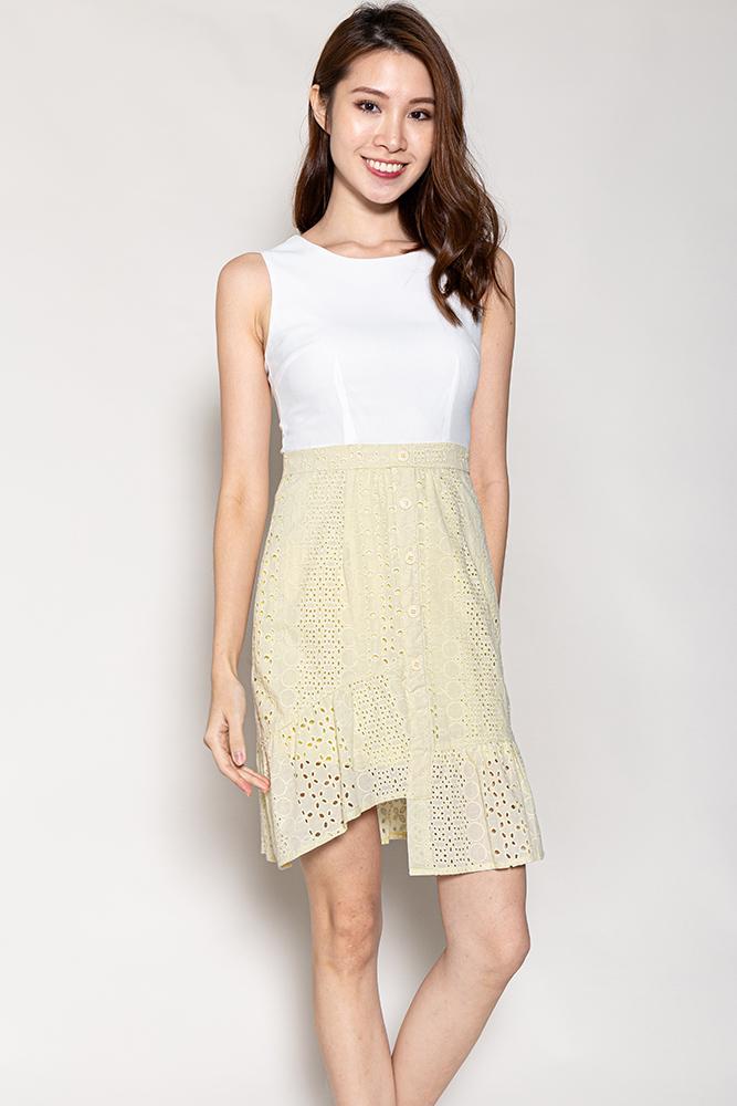 Adele Asymmetrical Hem Eyelet Dress (White/Pale Yellow)