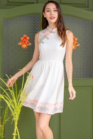 *BACKORDER* The Tale of Genji Cheongsam Dress W Fabric Face Mask (White)