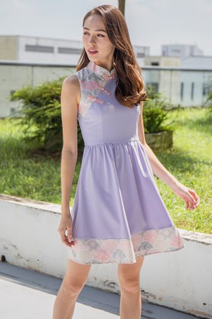 *BACKORDER* The Tale of Genji Cheongsam Dress W Fabric Face Mask (Lilac)