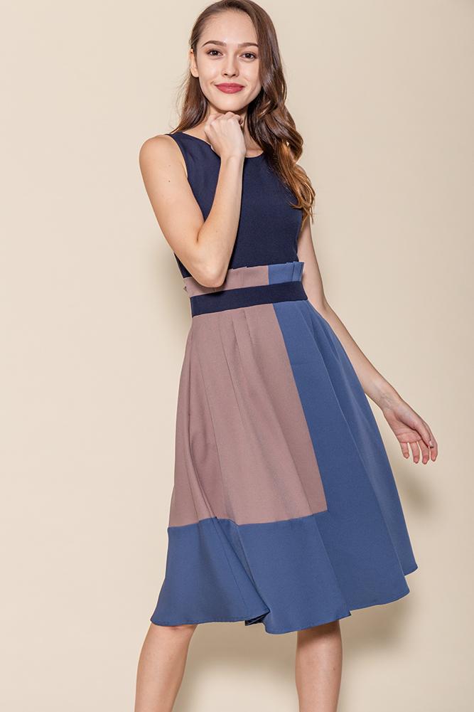 Cleo Colour Block Paper Bag Dress (Navy)