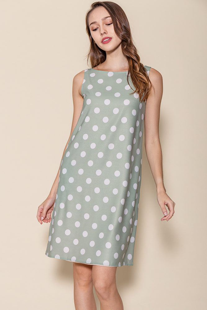 Tinsley Reversible Polka Dots Dress (Sage/Nude Pink)