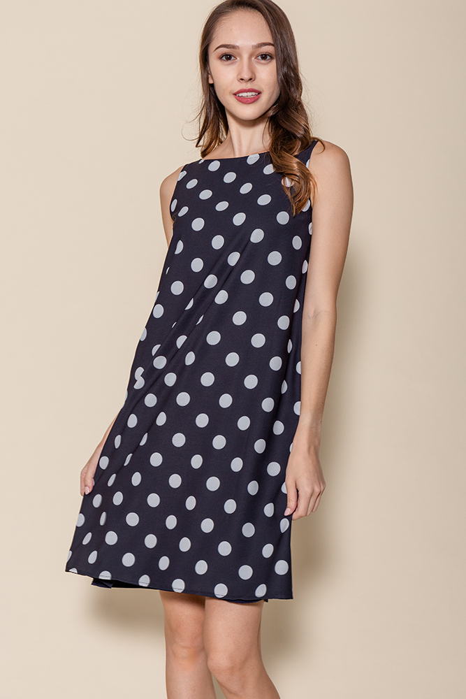 Tinsley Reversible Polka Dots Dress (Black/Navy)