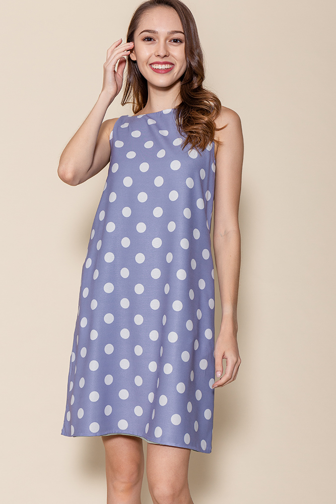 Tinsley Reversible Polka Dots Dress (Periwinkle/Sage)