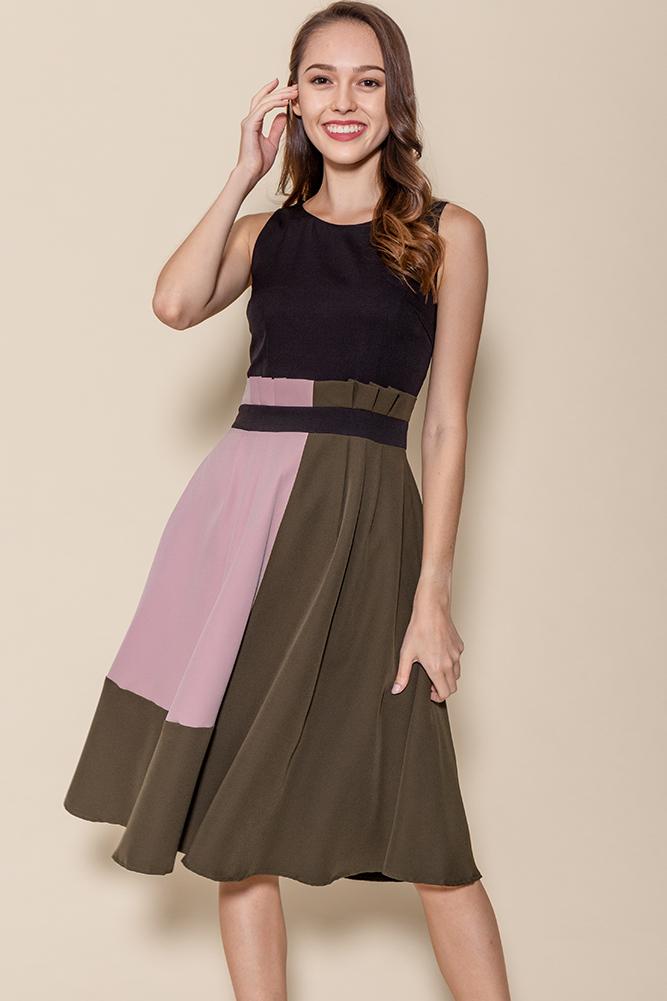 Cleo Colour Block Paper Bag Dress (Black)