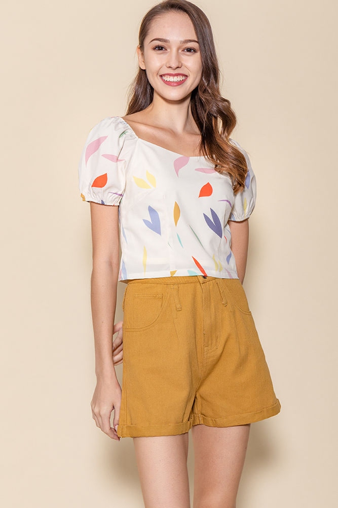 Tessa Puffy Sleeves Top (Cream Abstract)