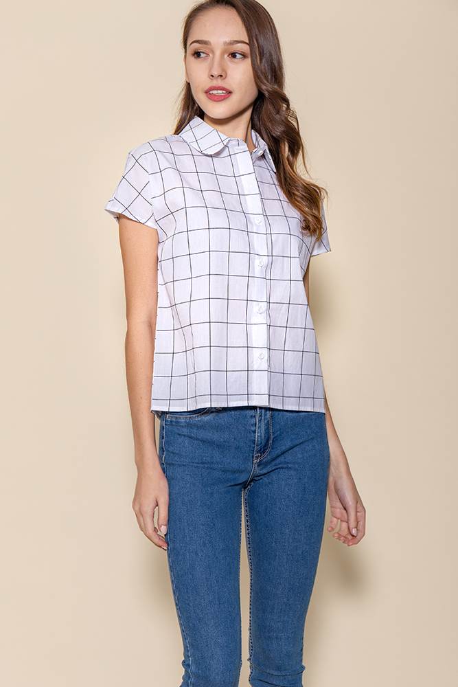 Jayden Boxy Grid Shirt (White)