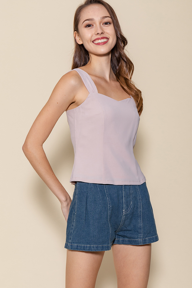 Bella Sweetheart Top (Muted Pink)