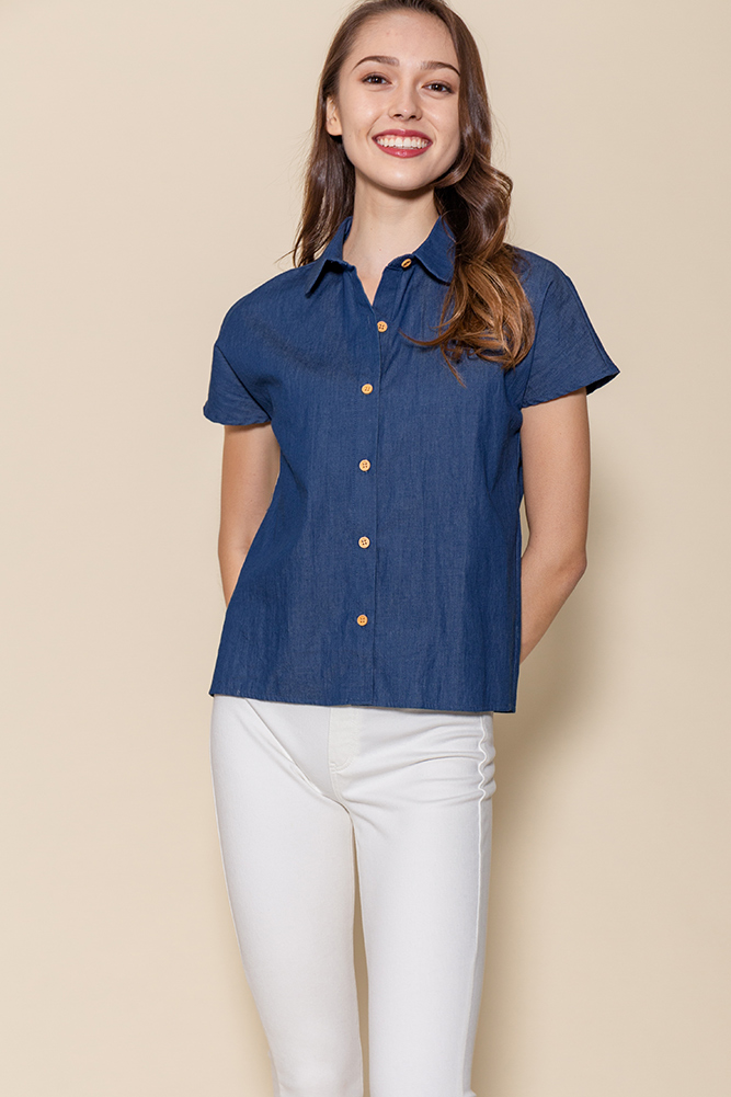 Jayden Boxy Chambray Shirt (Blue)