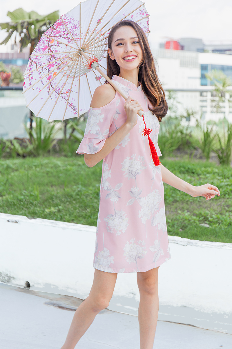 White Peony Cold-Shoulder Cheongsam Dress (Cherry Blossom Pink)