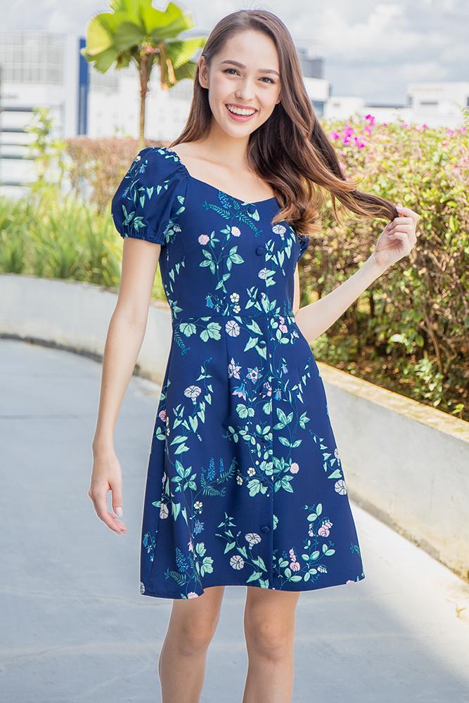 Sorelle Floral Bloom Off-Shoulder Dress (Navy)