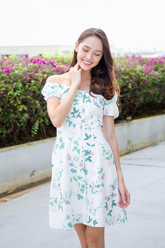 Sorelle Floral Bloom Off-Shoulder Dress (White)