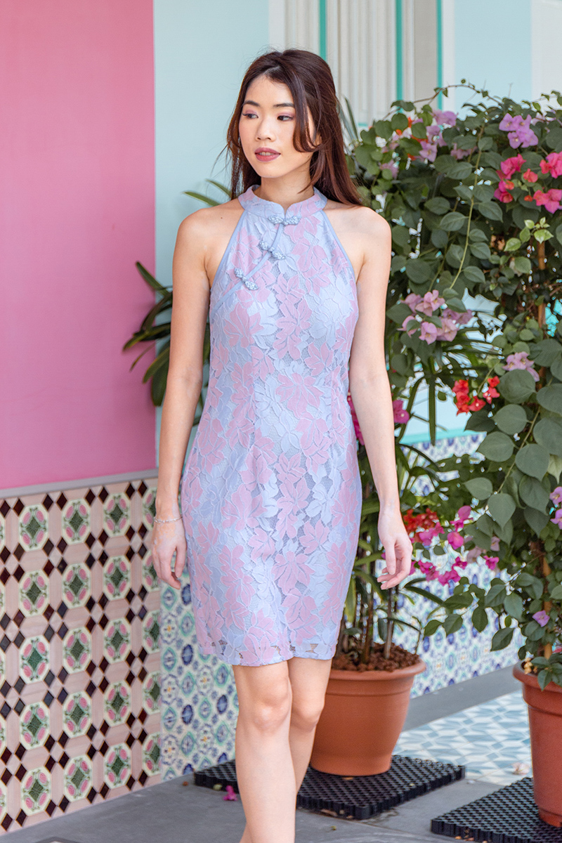 The Golden Hour Lace Cheongsam Dress (Pastel)
