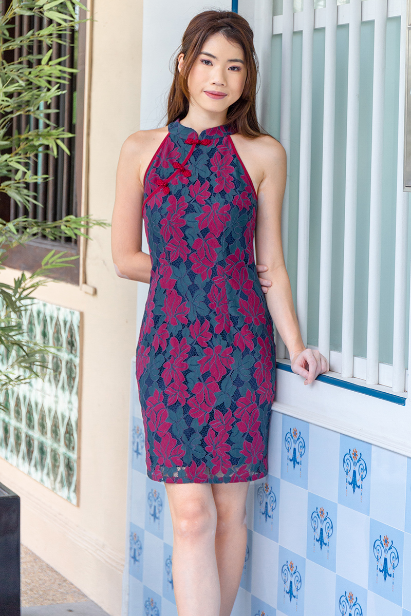 The Golden Hour Lace Cheongsam Dress (Wine)