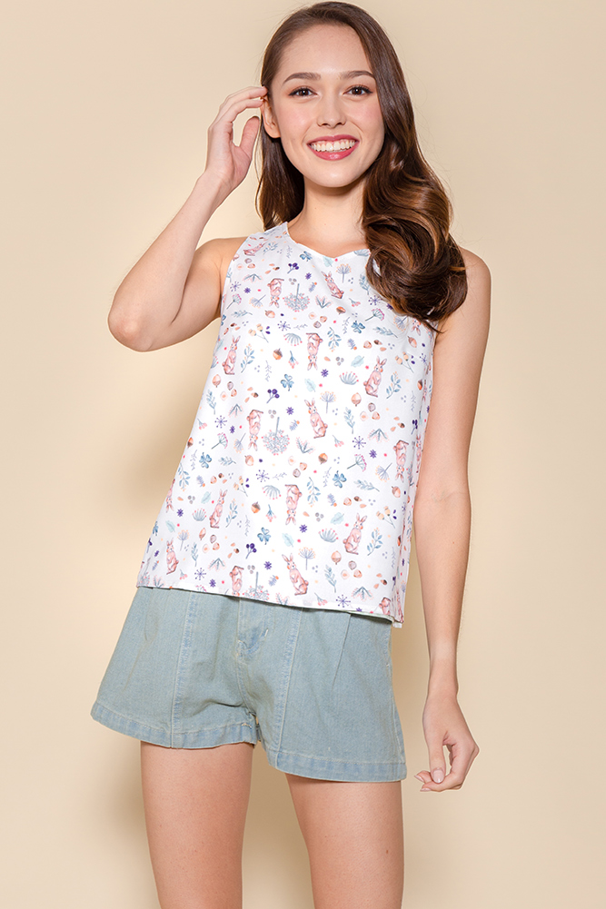| BACKORDER | Peter Rabbit Reversible Tank Top W Reversible Fabric Mask (White/Mint Gingham)