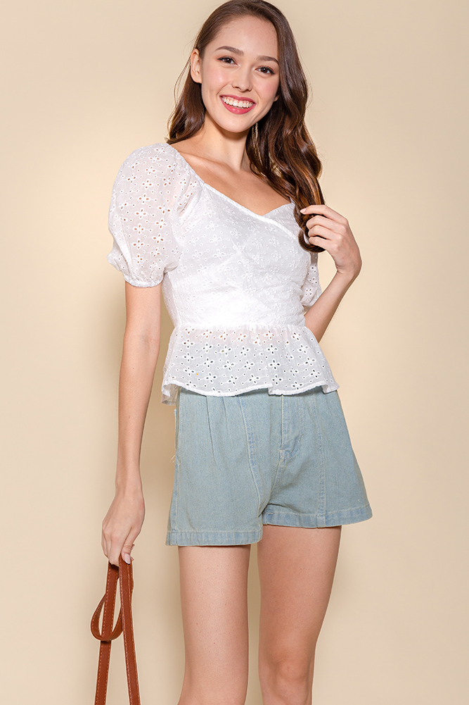 The Princess Diary Eyelet Top (White)