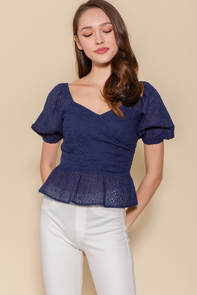 The Princess Diary Eyelet Top (Navy)