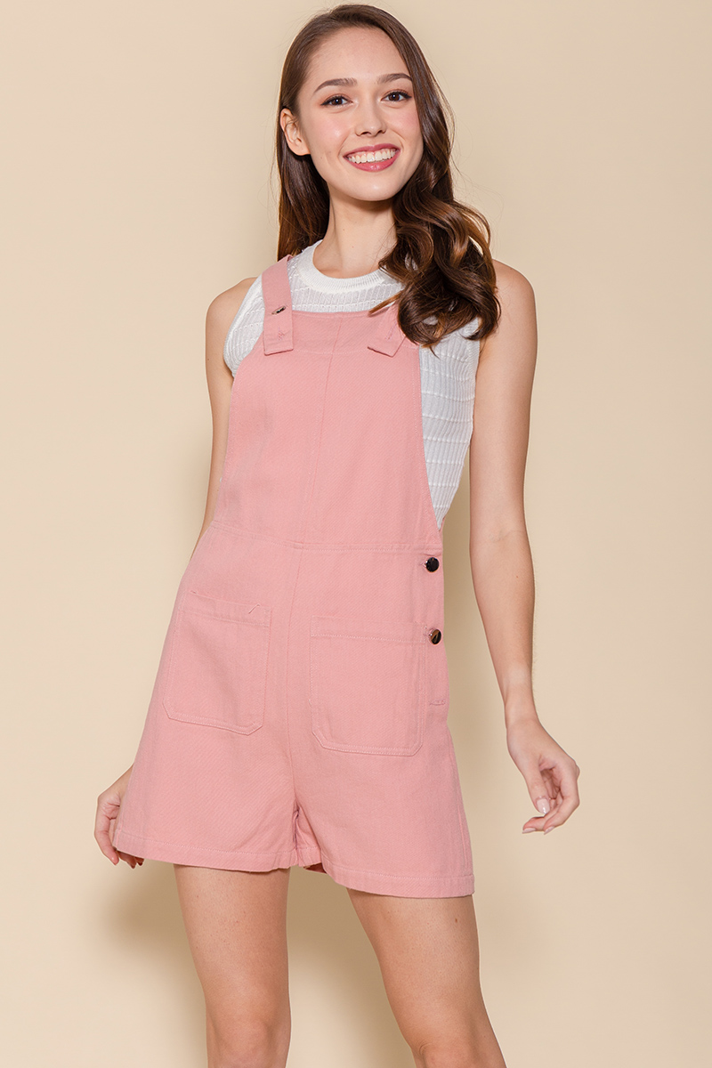 The Little Denim Dungaree (Baby Pink)