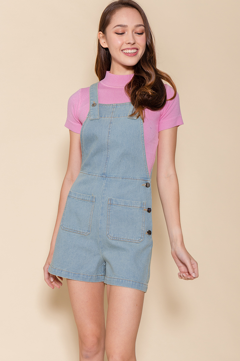 The Little Denim Dungaree (Faded Blue)