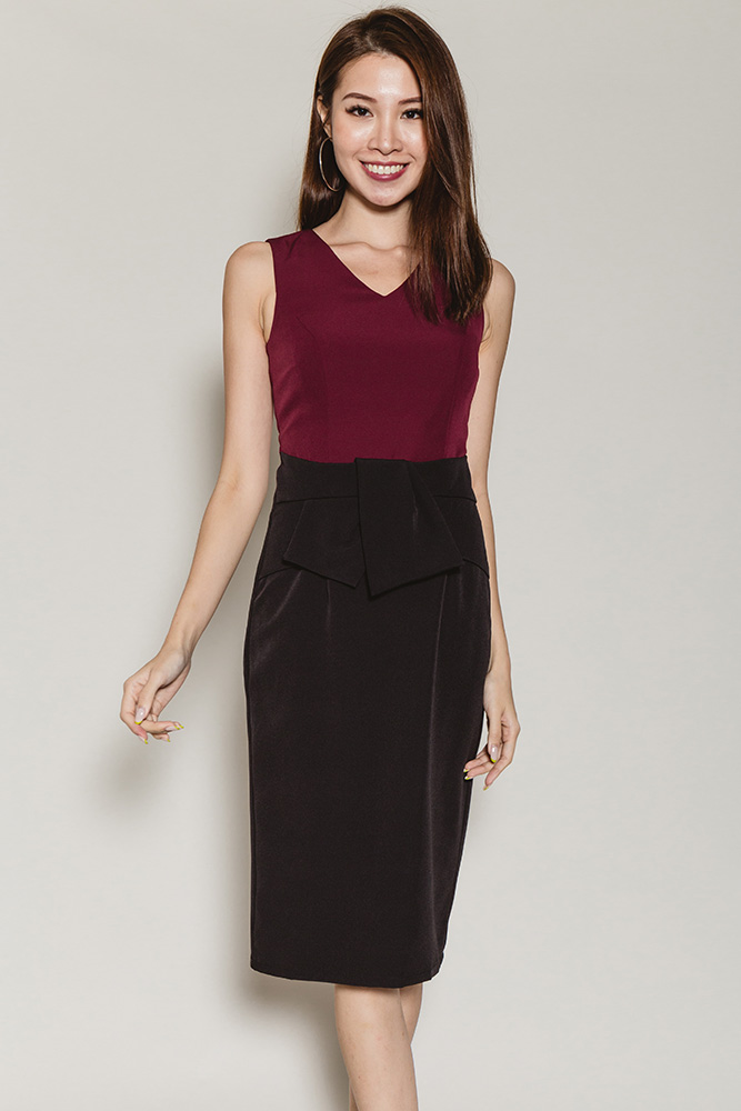 Misah Colour Block Work Dress (Wine/Black)