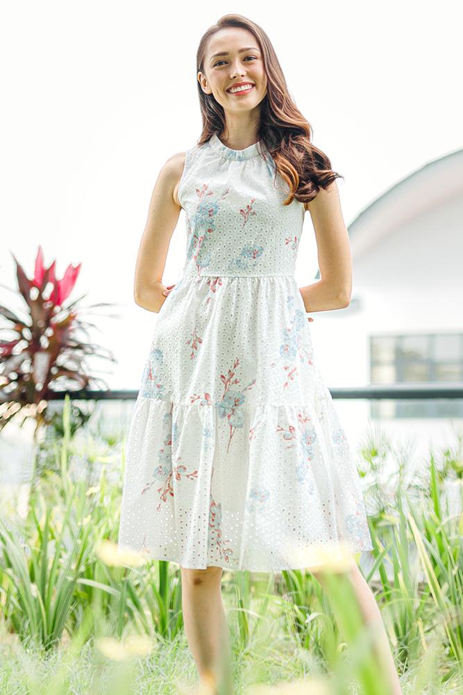 Spirited Bloom Eyelet Tiered Dress (Cherry Blossom)