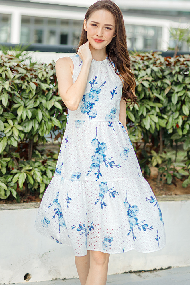 Spirited Bloom Eyelet Tiered Dress (Blue Blossom)