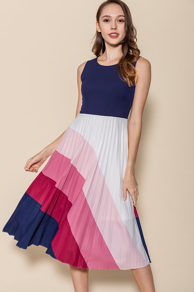 Rays Of Hope Pleated Midi Dress (Navy)