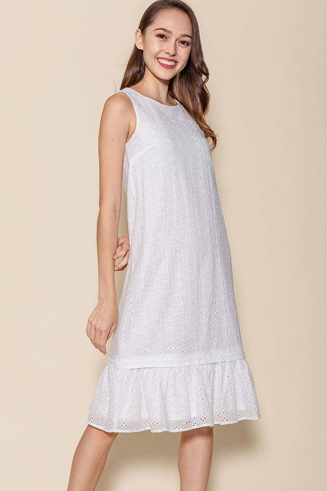 Ayana Eyelet Dress W Removable Hem (White)
