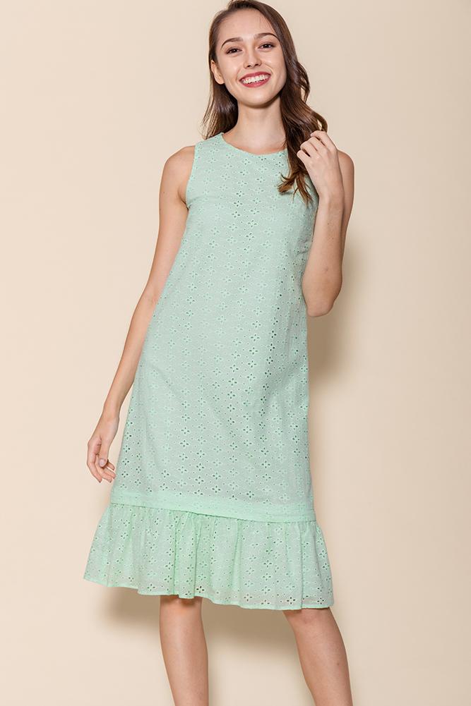 Ayana Eyelet Dress W Removable Hem (Mint)