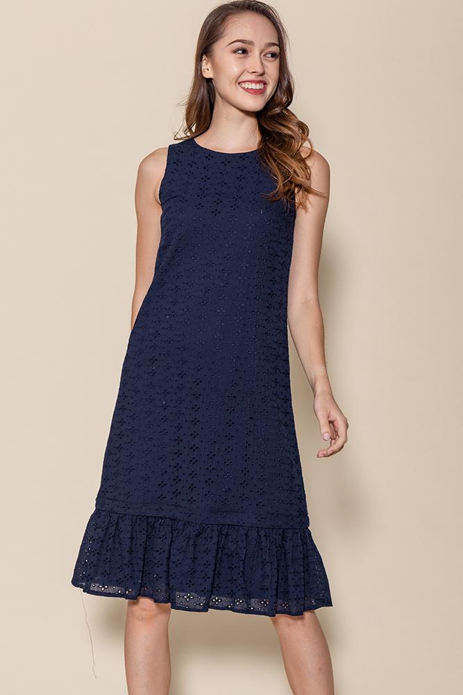 Ayana Eyelet Dress W Removable Hem (Navy)
