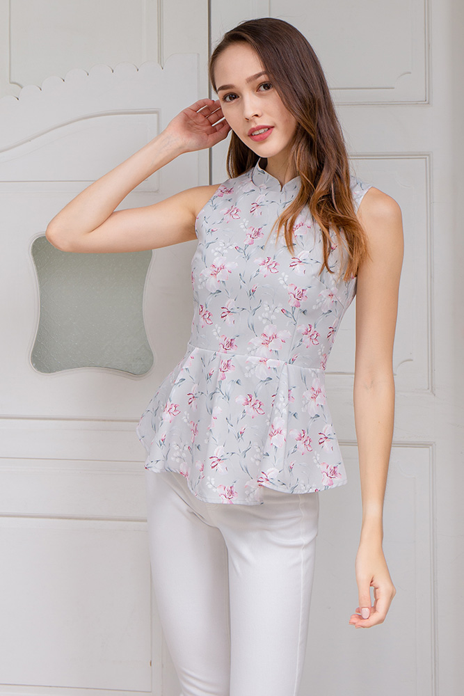 Pursuit of Happiness Cheongsam Top W Fabric Mask (Grey Mist)