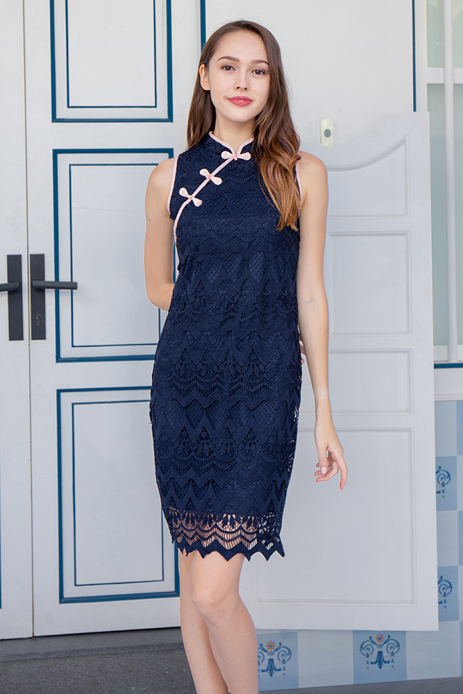 Wish Upon A Star Crochet Cheongsam Dress (Navy)