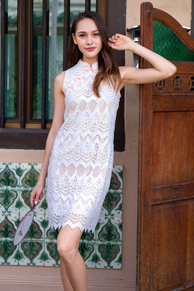 Wish Upon A Star Crochet Cheongsam Dress (White)