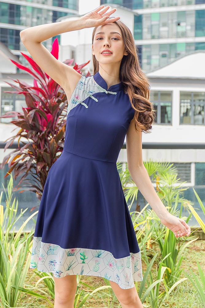 Blooming Bliss Cheongsam Dress (Navy)