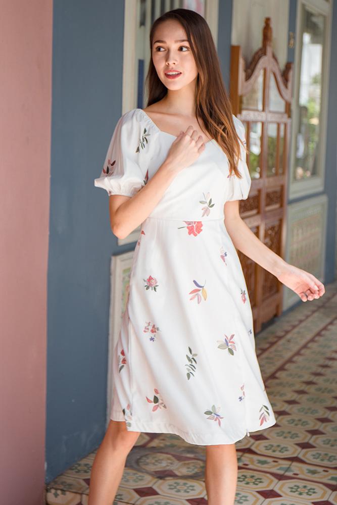 Falling Petals Off Shoulder Dress (White)