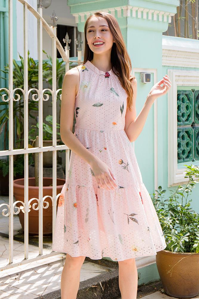 Spring Merriments Tiered Eyelet Dress (Pastel Pink)