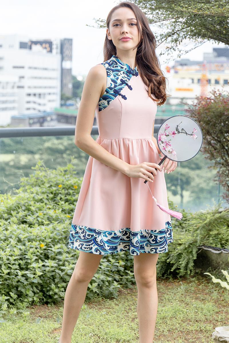 Waves of Kanagawa Cheongsam Dress W Fabric Mask (Pink)