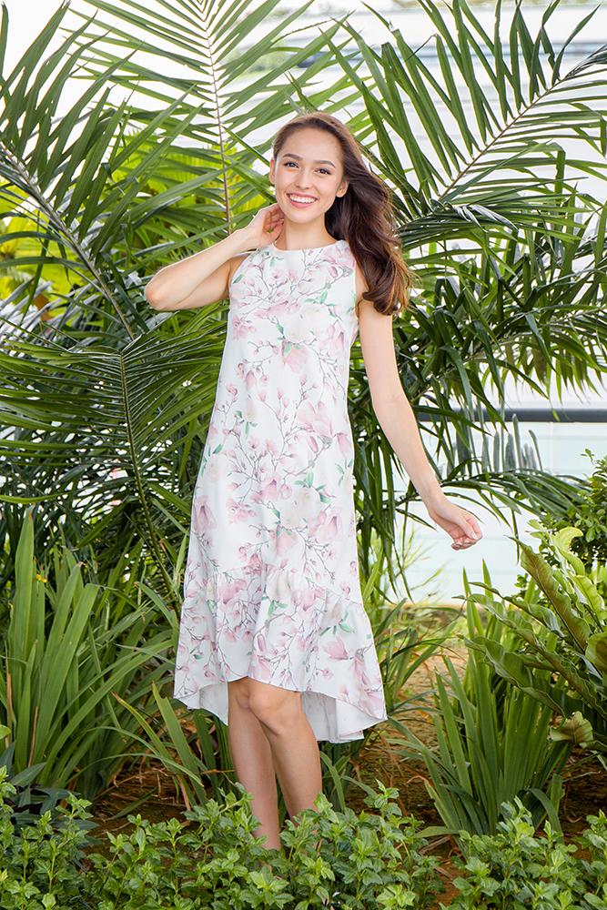 Anemone High-Low Hem Floral Dress (White)